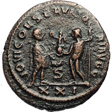 DIOCLETIAN Authentic Ancient 285AD Roman Antioch Coin JUPITER & HERCULES i67424