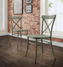 metal farmhouse chairs chair for bar ebay distressed dining set of 2 modern country kitchen green