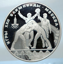 1980 MOSCOW Russia Olympics 1980 RUSSIAN WRESTLING Silver 10 Rouble Coin i73844