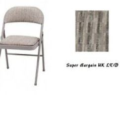Folding Chair Uk Ikea Poang Covers Fabric Chairs Ebay Deluxe Comfort Padded High Quality Steel Brown Grey