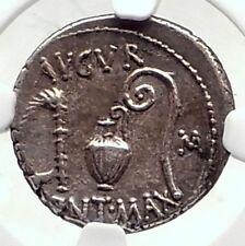 JULIUS CAESAR Authentic 46BC Ancient Silver Roman Coin THAPSUS BATTLE NGC i72402