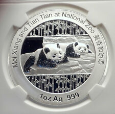 2014 CHINA Official 1oz Silver Mint Medal Coin PANDA Bears NGC Certified i70686
