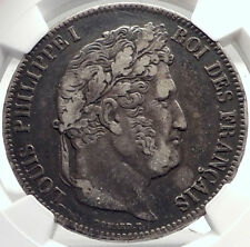 1839 FRANCE King Louis Philippe I French Silver 5 Francs Coin Paris NGC  i70020
