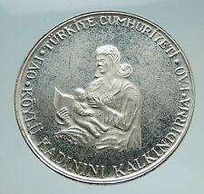 1980 TURKEY Breastfeeding Child w Crescent Antique Silver 500 Lira Coin i74756
