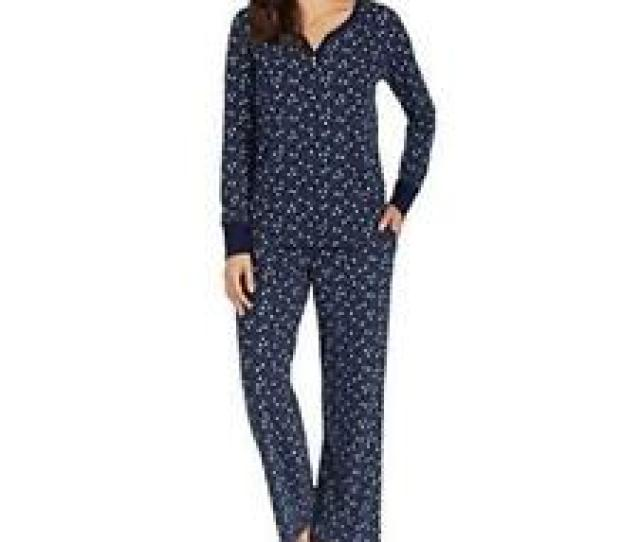 Nautica Womens  Piece Fleece Pajama Sleepwear Setblue Snow Xxl