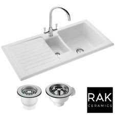 ceramic kitchen sink bbq outdoor kits sinks with taps ebay rak ceramics rustic 1 5 bowl white reversible waste