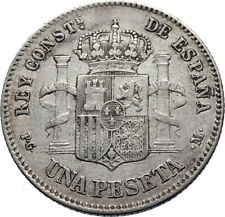 1891 SPAIN - Antique Silver 1 Peseta Coin - Spanish King ALFONSO XIII i71862