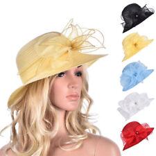 Womens Kentucky Derby Floral Wide Brim Church Dress Summer Sun Hat A323