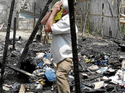 Fuego consume una casa de caña guadua en la 15 de Abril