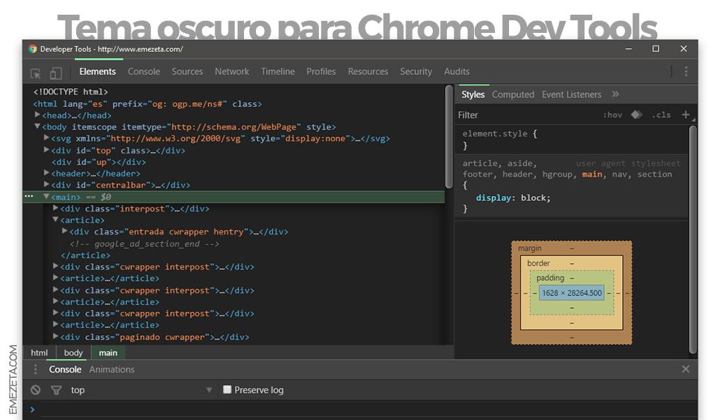 Tema oscuro para Chrome® Developer Tools