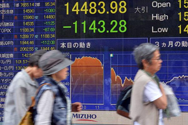 日本股市暴跌7.3%後 全球股市連環挫跌 | 安倍經濟學 | 大紀元
