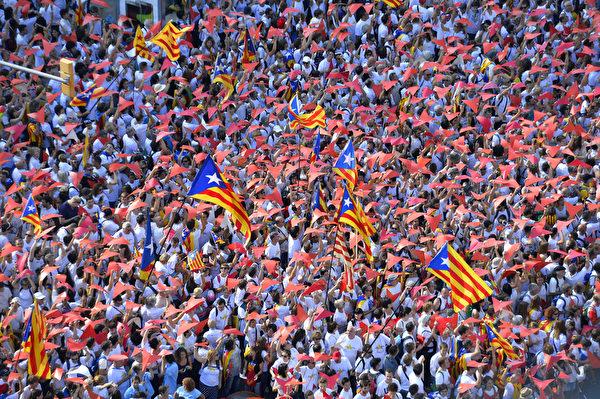 爭取脫離西班牙 150萬加泰隆尼亞人上街   加泰羅尼亞   獨立公投   大紀元