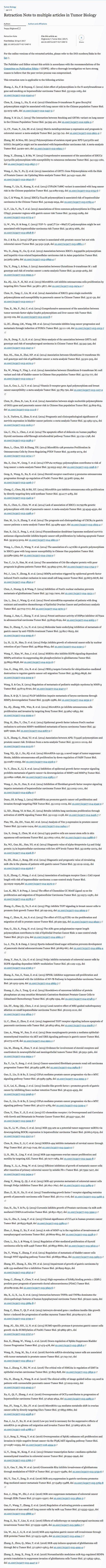 斯普林格所提供的論文造假名單。(截圖)
