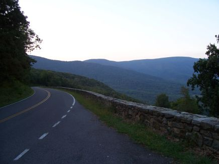 Sun beginning to rise over Skyline Drive.