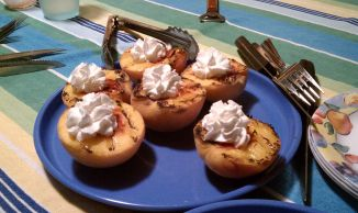 And dessert, grilled peaches.