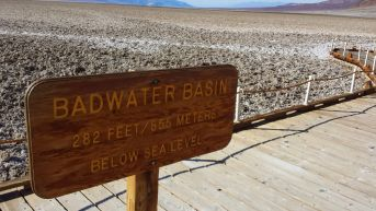 In the Badwater Basin, lowest point in North America