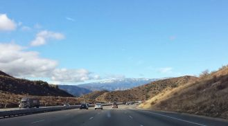 Snow in the Angeles National Forest as seen from the I-5