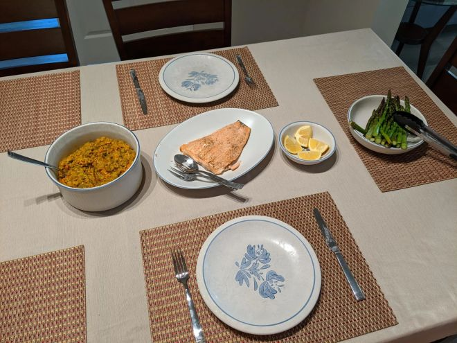 Grilled salmon, curry rice, and asparagus