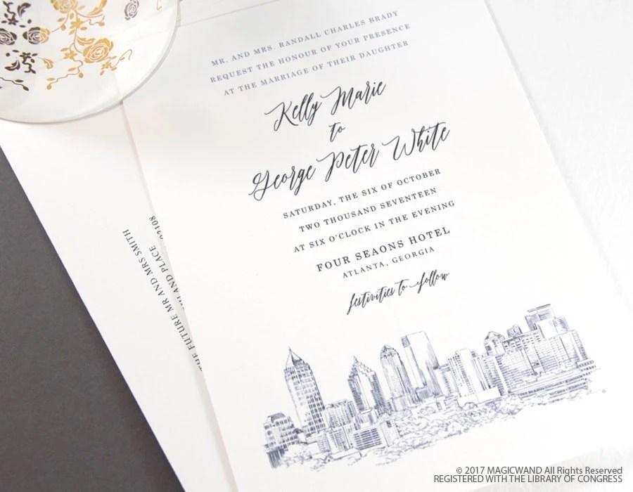 Atlanta Skyline Wedding Invitation Atlanta Wedding Atlanta  Etsy