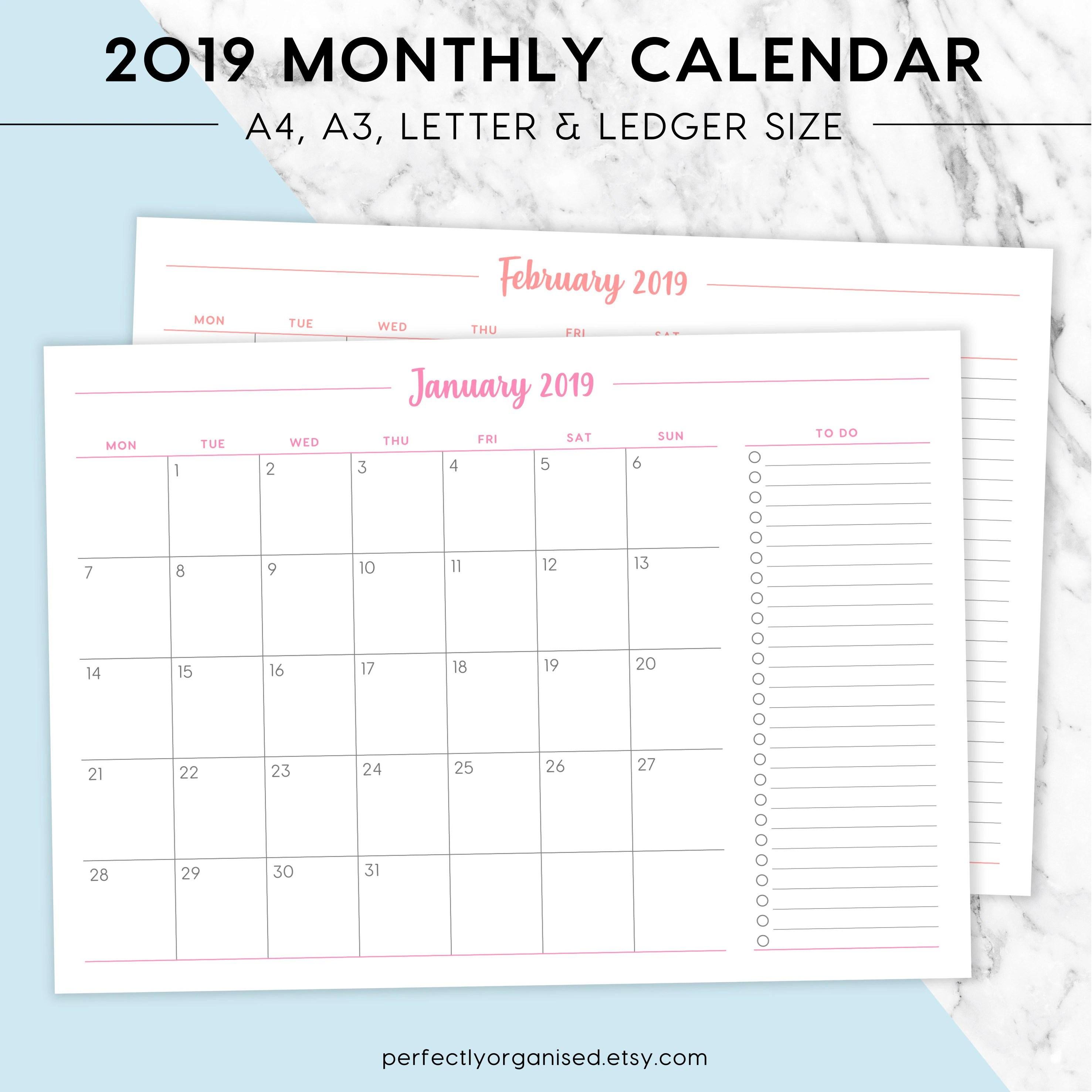 NEW 2019 Monthly Calendar Printable A4 A3 Letter Ledger | Etsy