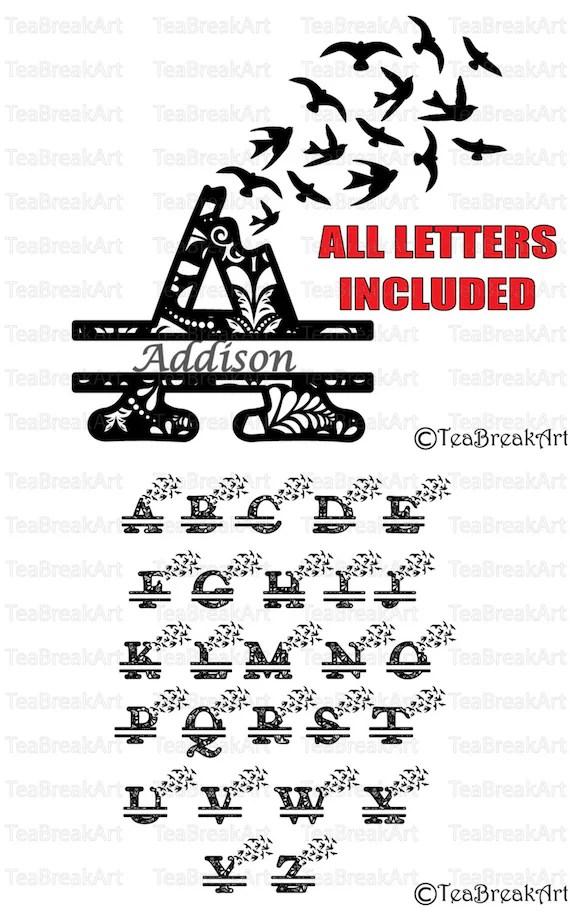 Zentangle split bird flying alphabet Monogram Cutting