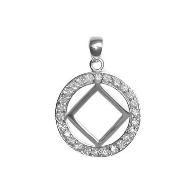 Narcotics Anonymous Style 26NA Sterling Silver Pendant NA
