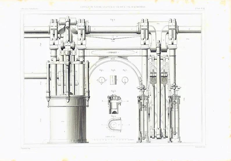 1885 Antique Peniche Patent Print. Original Steam Machine
