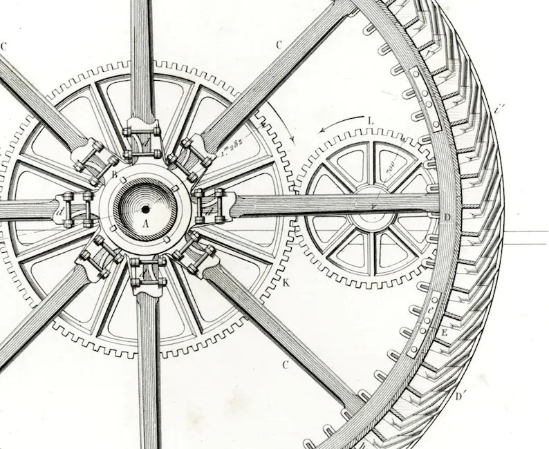1848 Water Wheel Dam Antique Water Turbine pelton Rotary