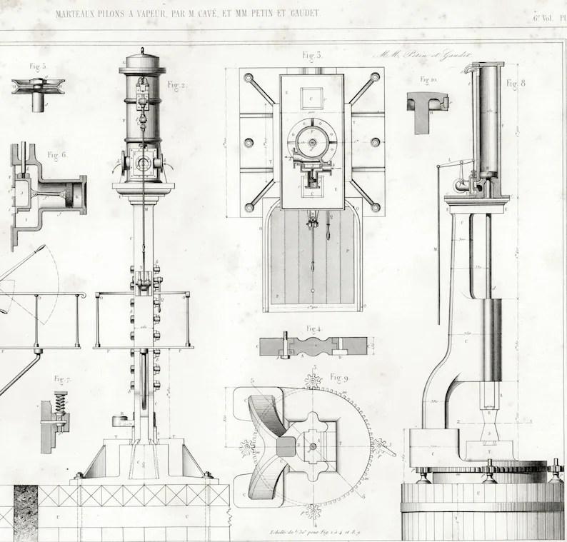 1848 Steam Hammer Forge Smithy Machine Patent Print