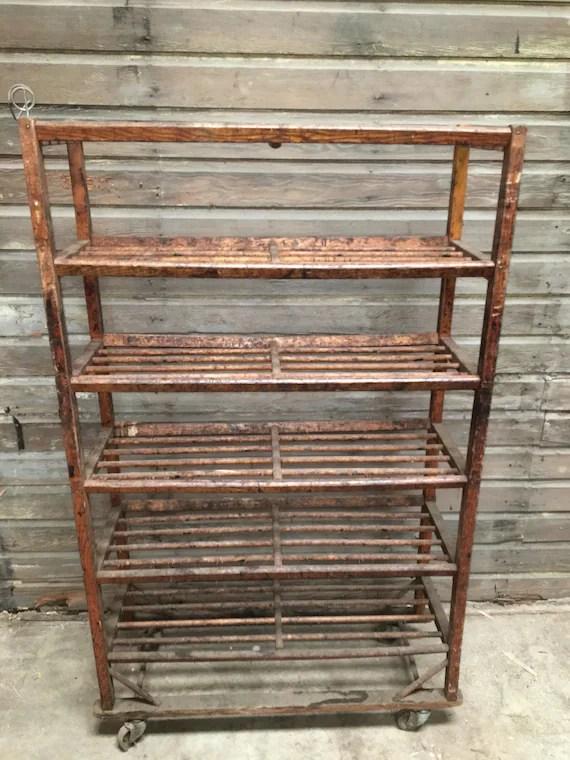 vintage doweled 6 shelf wood east coast factory rolling rack etsy