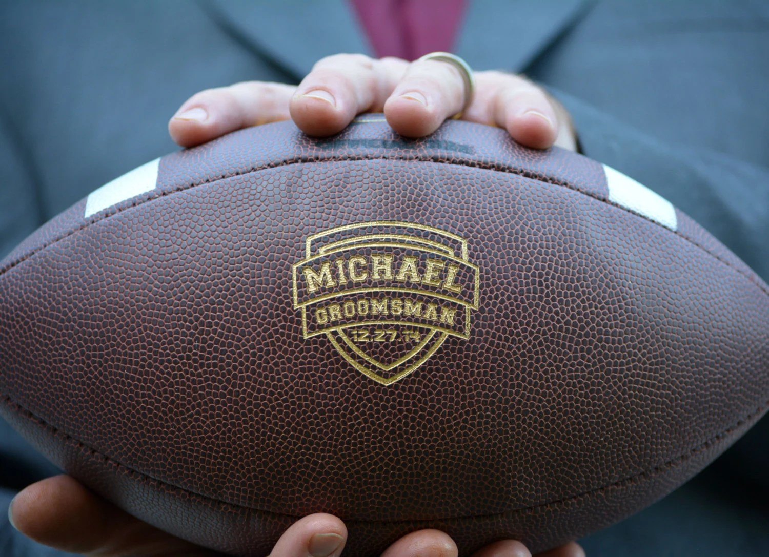 personalized football wedding gift
