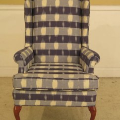 Queen Anne Wing Chair Zero Gravity Review 41815e Blue Print Upholstered Etsy Image 0