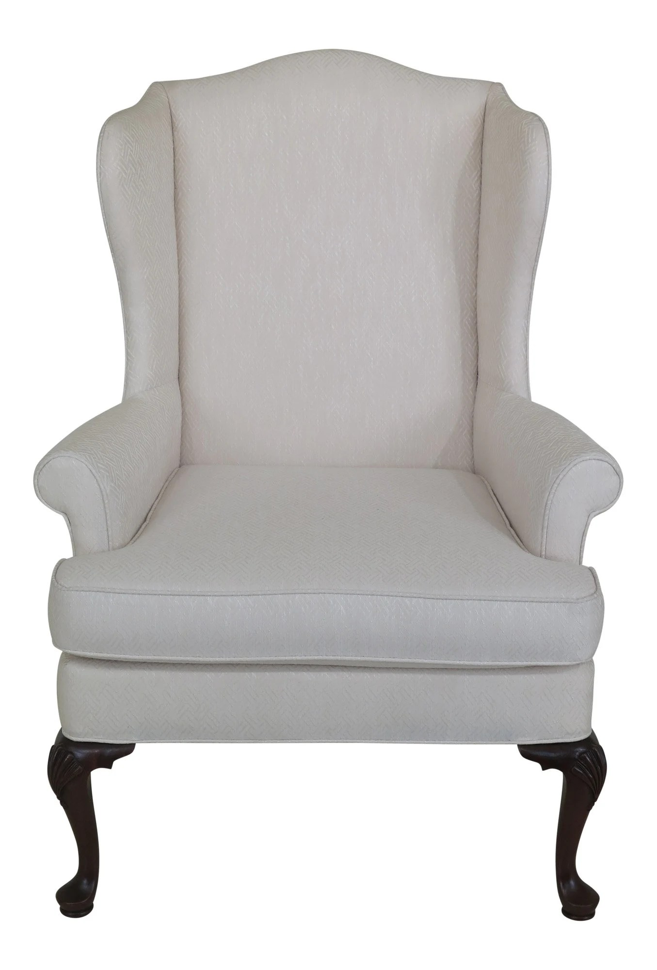 White Wing Chair 46060ec Woodmark Originals Queen Anne Mahogany Wing Chair