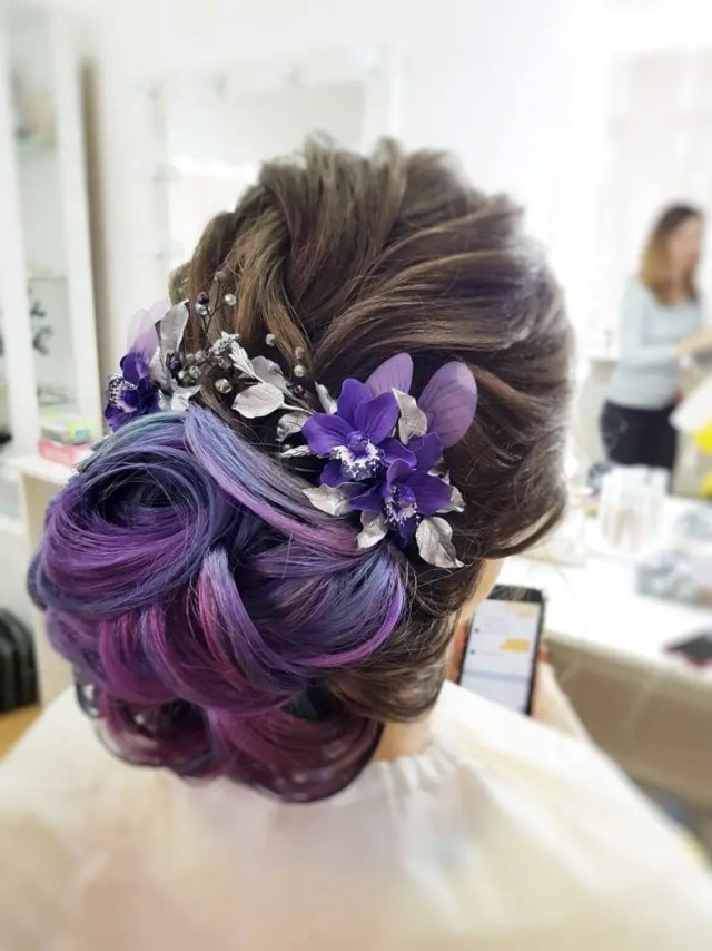 purple flower hair piece bridal hair comb bridal hair jewelry purple orchids and silver leaves crystal hair piece wedding hair accessory