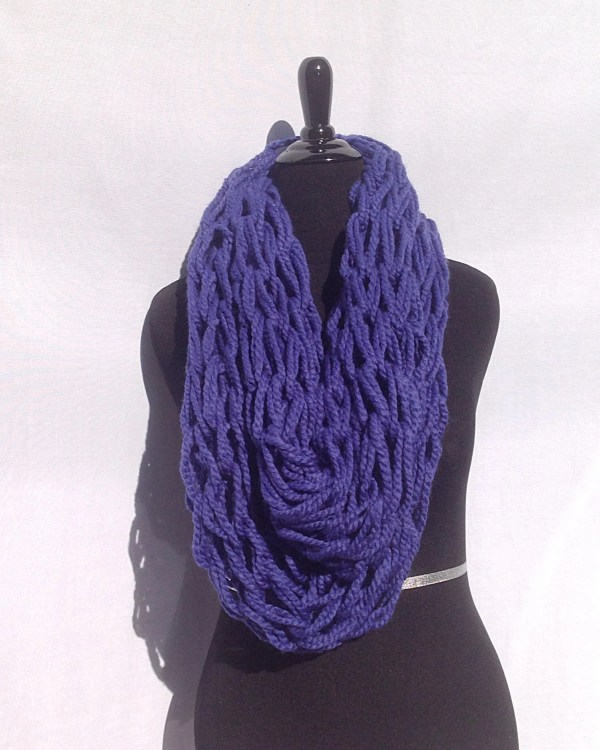 Infinity Scarf in Royal Blue Arm Knitted Etsy