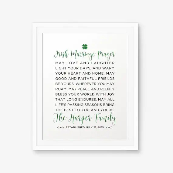 SALE Personalized Irish Marriage Blessing Printable Irish