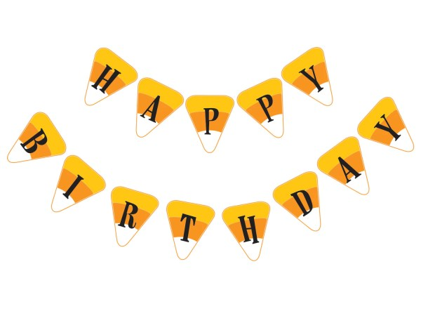 Halloween Candy Corn Happy Birthday Party Banner DIY