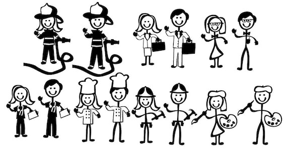 Stick Figure People Family Occupational Themed Vector Art