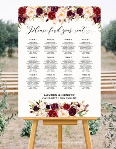 Burgundy floral wedding seating chart template printable plan up to table   large poster pdf instant download also etsy rh