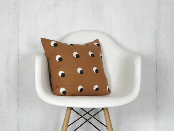 modern art chair covers and linens chromcraft kitchen parts sienna brown black white eclipse pillow cover decorative etsy image 0
