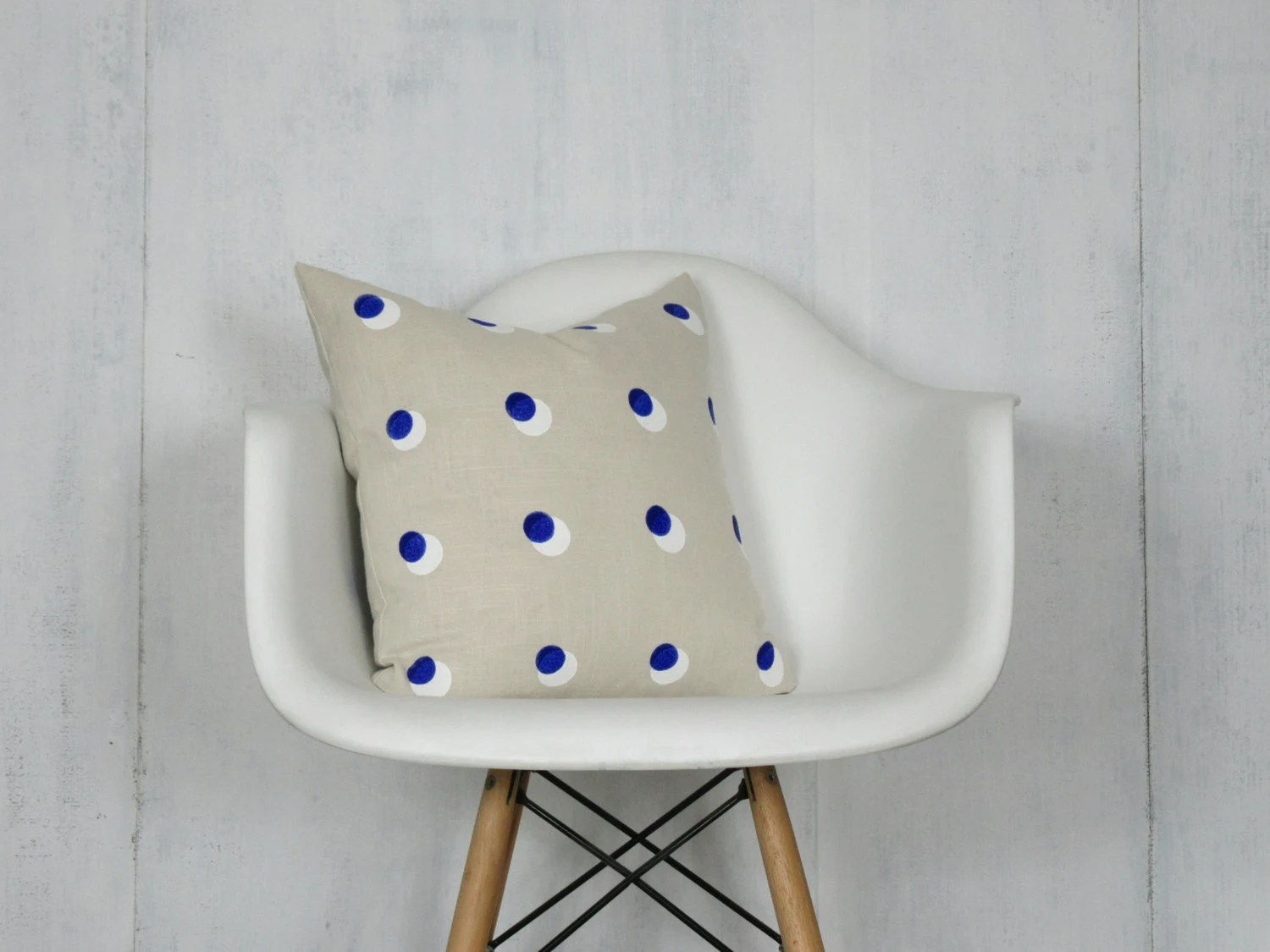 modern art chair covers and linens purple butterfly cream linen pillow cover with blue white dot print etsy image 0