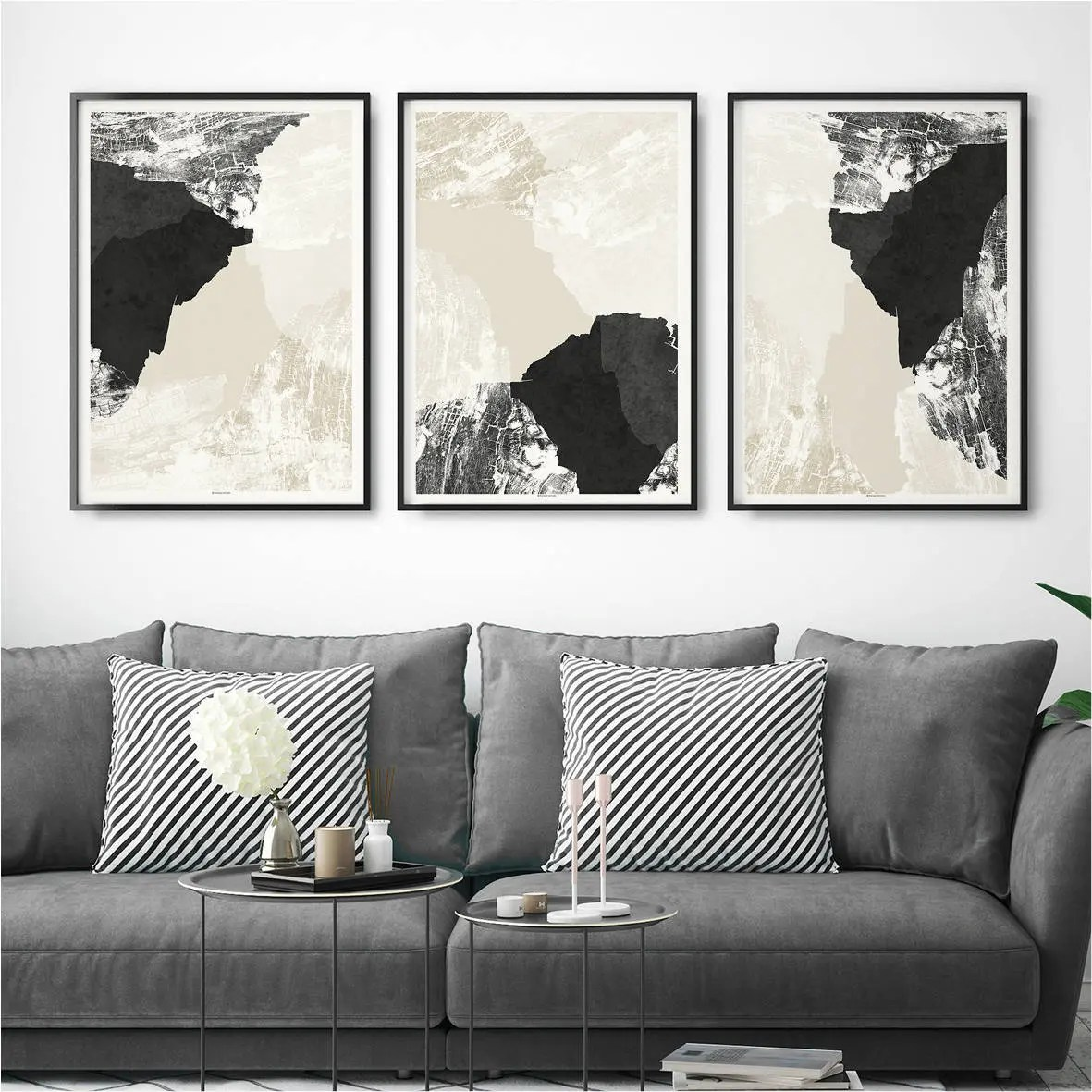 modern living room wall art media cabinet etsy set of 3 abstract prints minimalist fine print large triptych decor