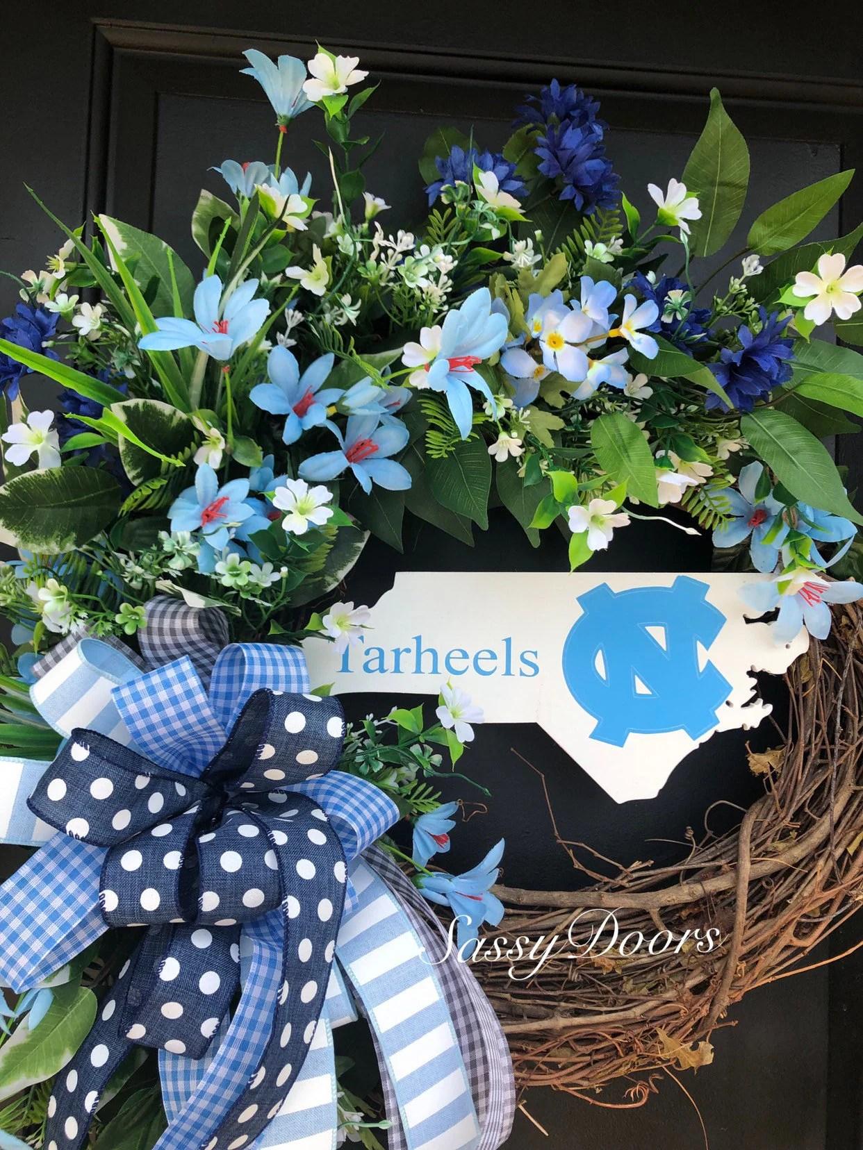 Unc Tarheels Sports Wreath College Wreath Carolina Tarheels Unc Chapel Hill Front Door Wreath