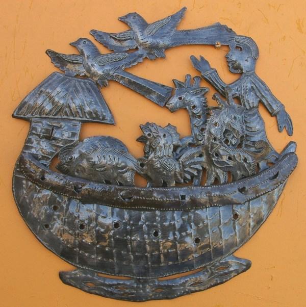 Noah' Ark Wall Sculpture Metal Art Fair Trade