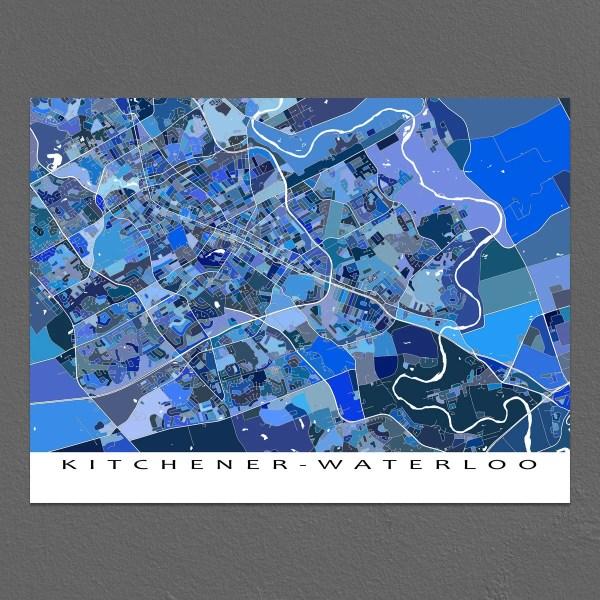 Kitchener Waterloo Map Art Print Ontario Canada City