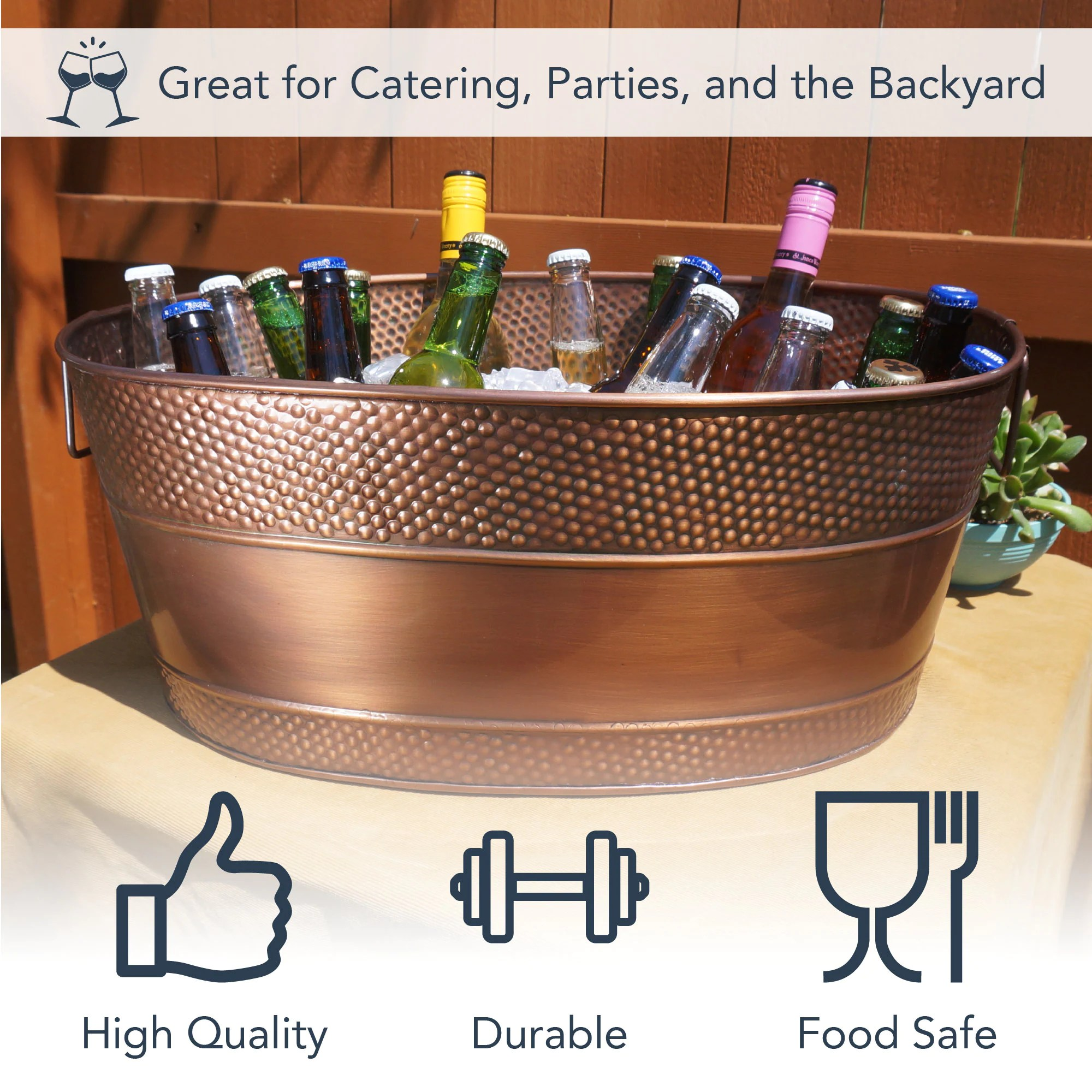 Personalized Copper Beverage Tub & Wine Chiller Ice Bucket image 6