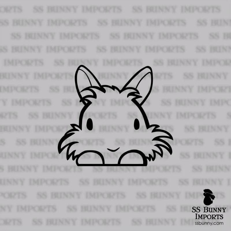 Peeking cute vinyl lionhead decal bunny car sticker