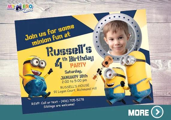 minions birthday invitation minions