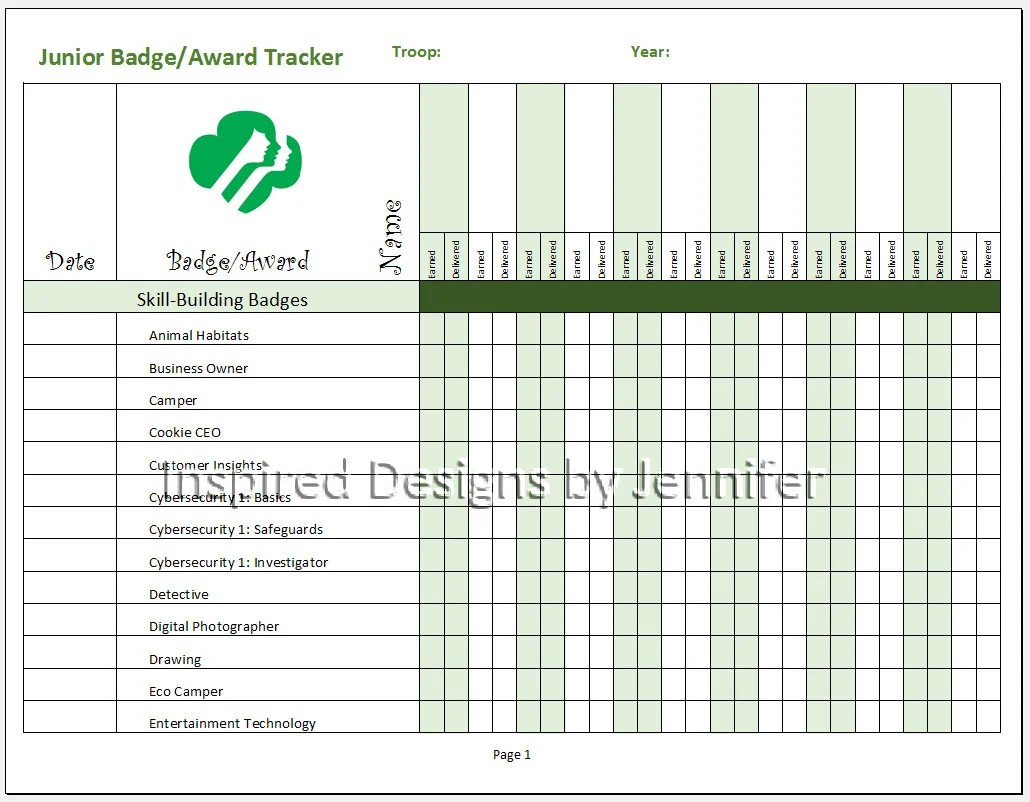 Junior Girl Scout Badge Award Tracker Instant Download