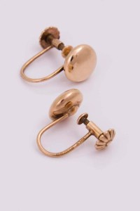 Antique Art Deco 9ct Rose Gold Button Screw Back Earrings
